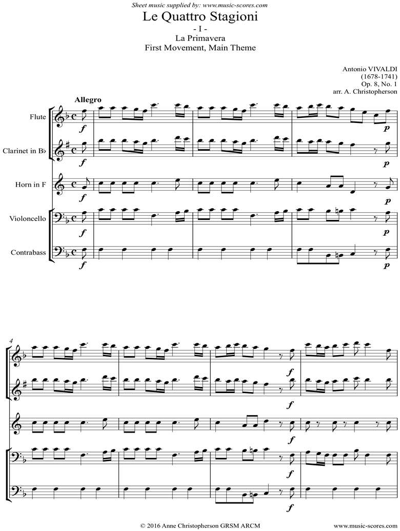 Front page of Op.8 No.1: The Four Seasons: Spring: 1st mt: Flute, Clarinet, Horn, Cello, Contrabass sheet music