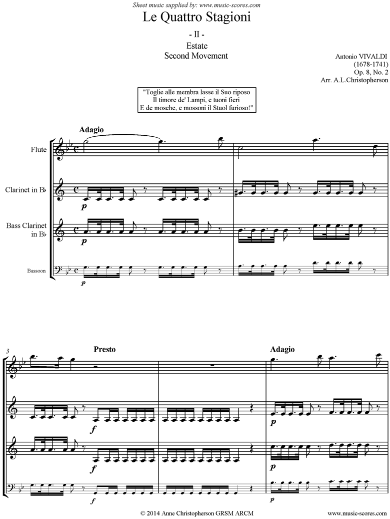 Front page of Op.8 No.2: The Four Seasons: Summer: 2nd mt Flute, Clarinet, Bass Clarinet or Bassoon sheet music