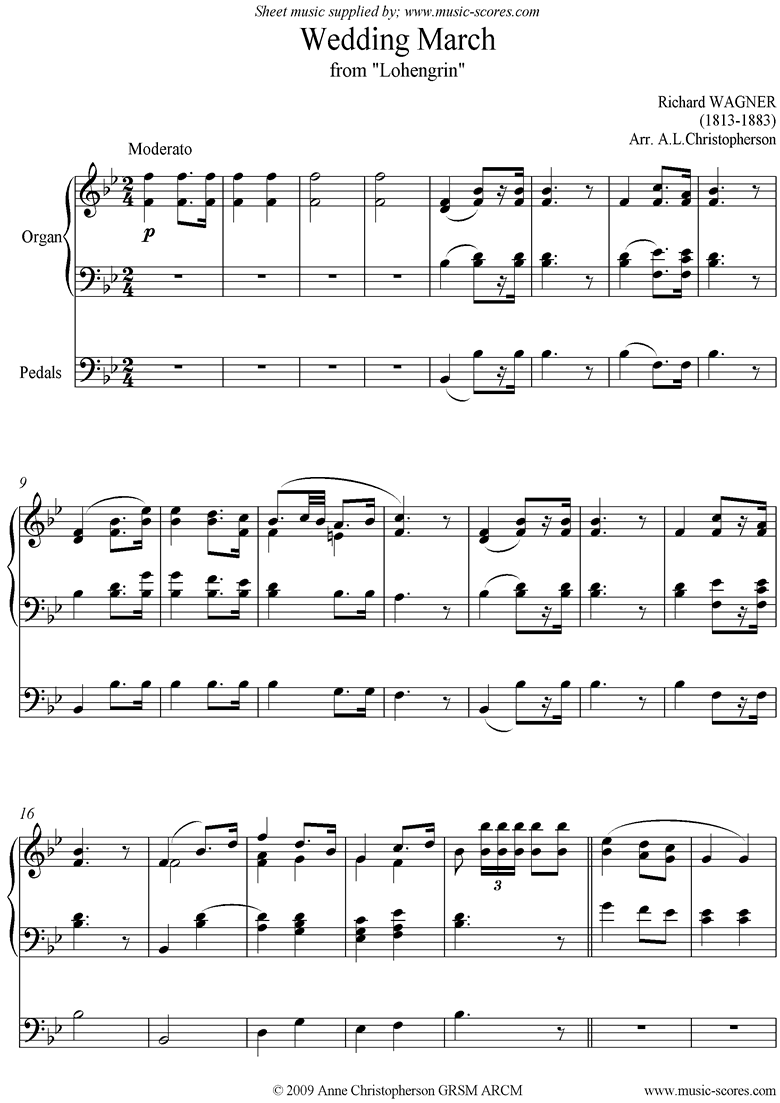Front page of Wedding March: from Lohengrin: Organ short version sheet music