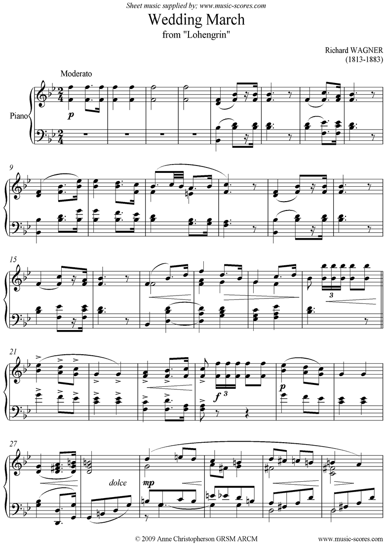 Front page of Wedding March: from Lohengrin: Piano short version sheet music