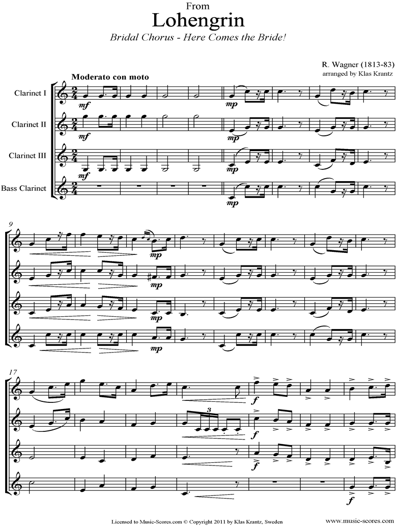 Wedding March: from Lohengrin: 3 Clarinets, Bass Clarinet by Wagner