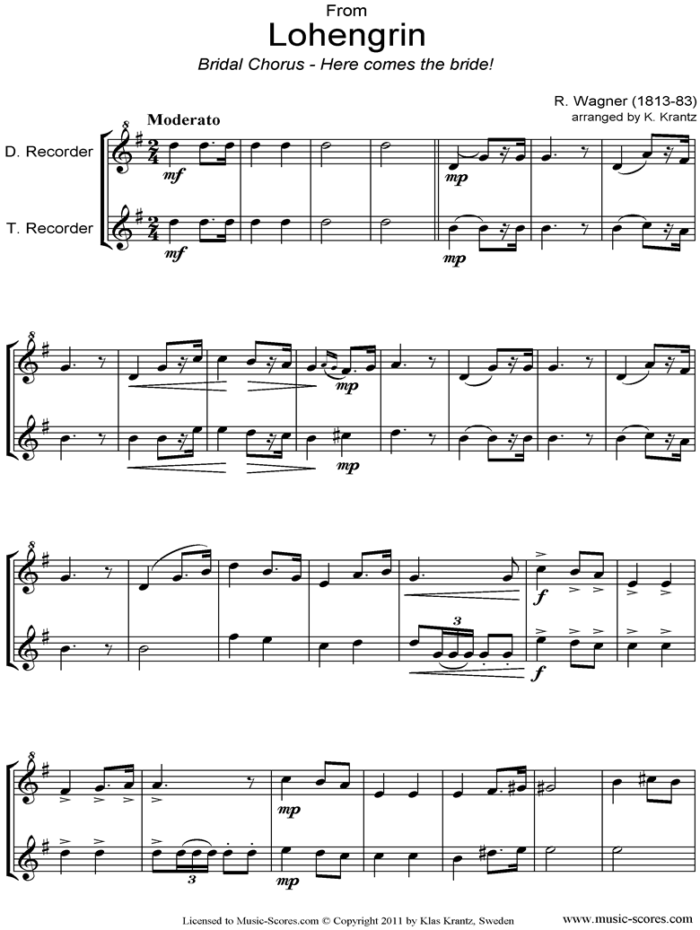 Wedding March: from Lohengrin: Descant Recorder, Treble Recorder by Wagner