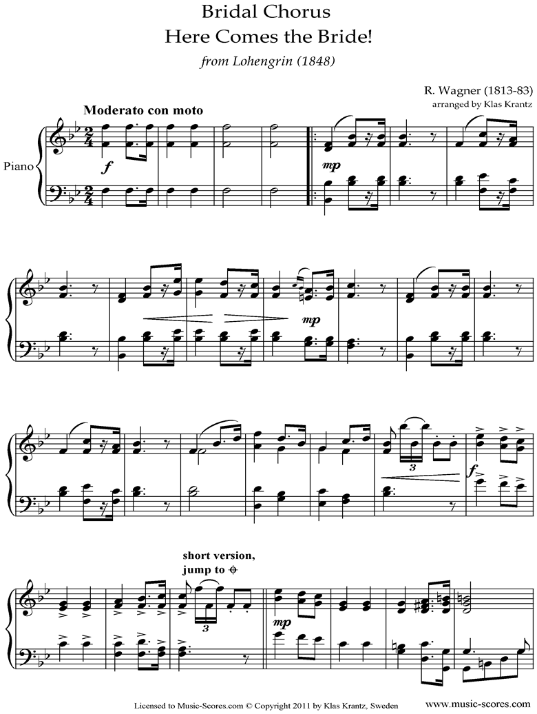 Front page of Wedding March: from Lohengrin: Piano, easy sheet music