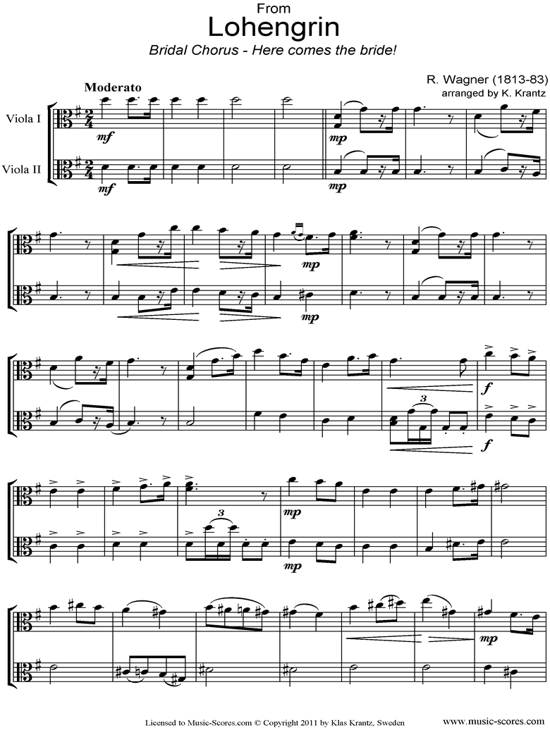 Front page of Wedding March: from Lohengrin: 2 Violas sheet music