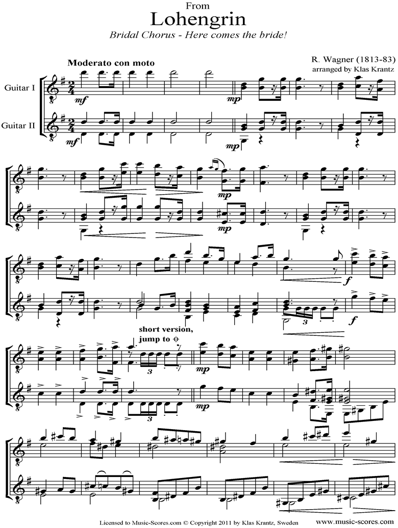 Wedding March: from Lohengrin: 2 Guitars by Wagner