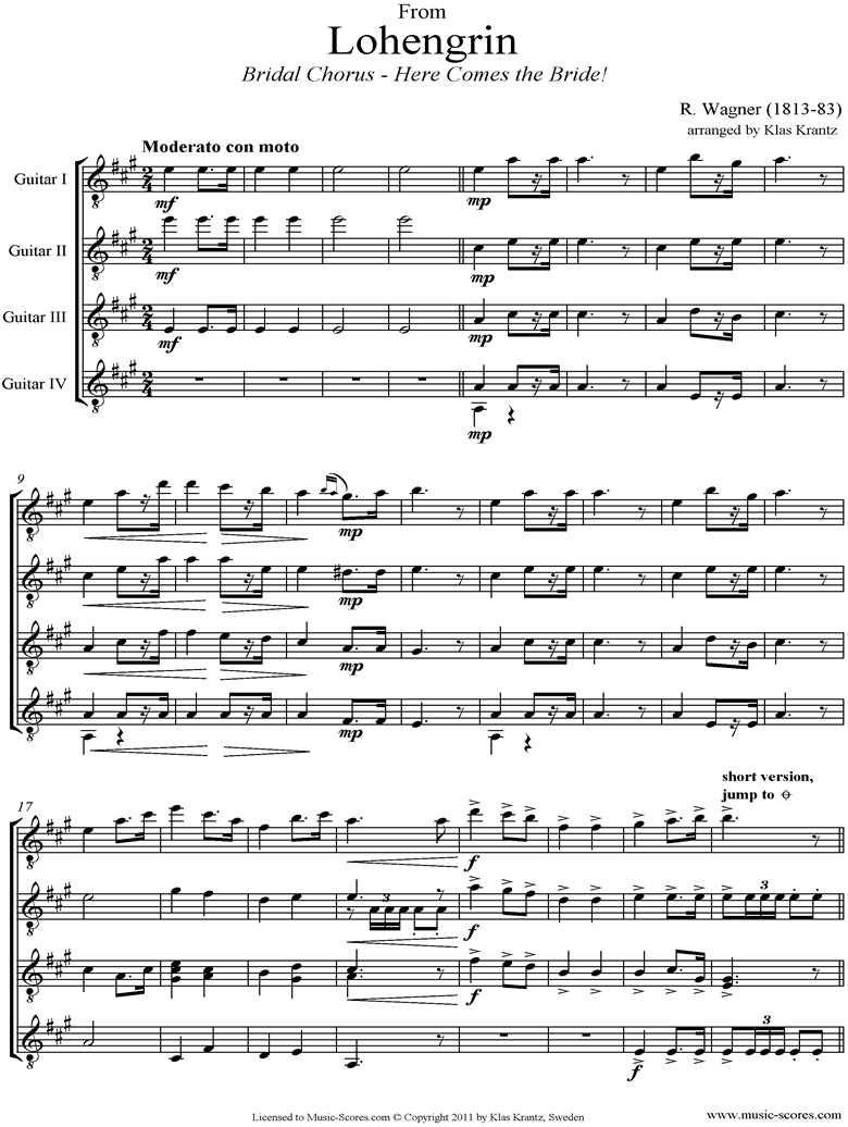 Wedding March: from Lohengrin: 4 Guitars by Wagner