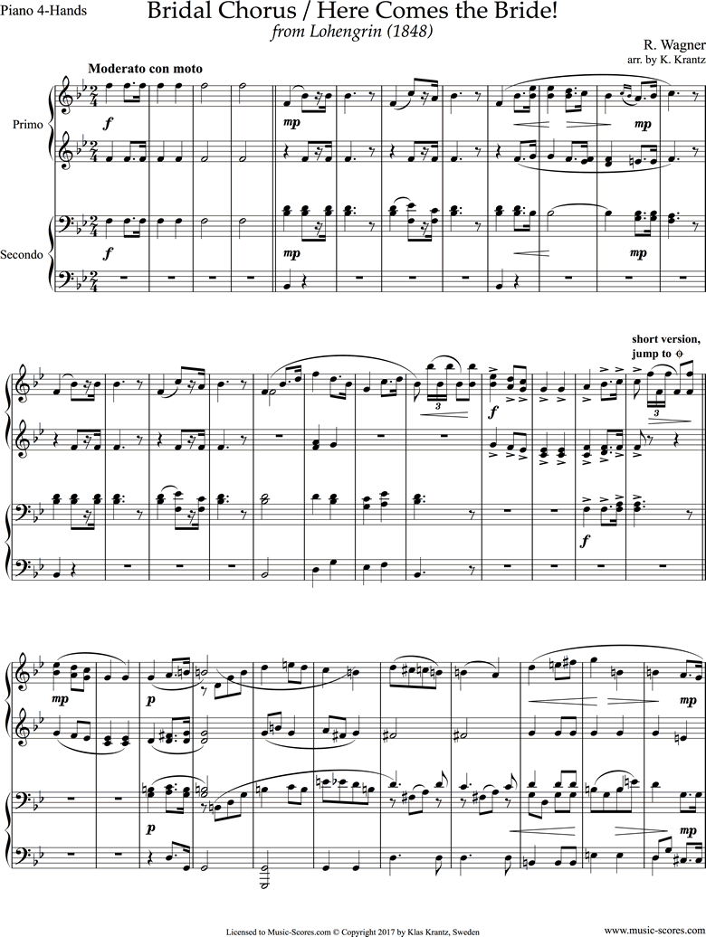 Front page of Wedding March: from Lohengrin: Piano duet sheet music