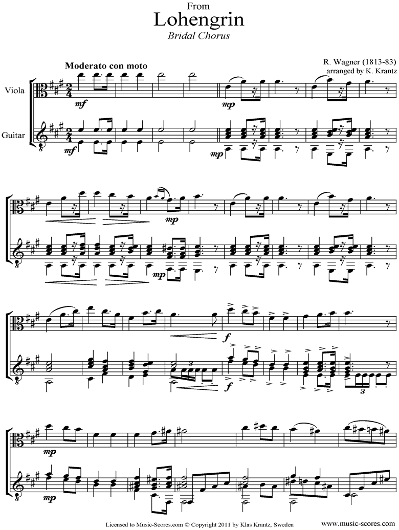 Front page of Wedding March: from Lohengrin: Viola, Guitar sheet music