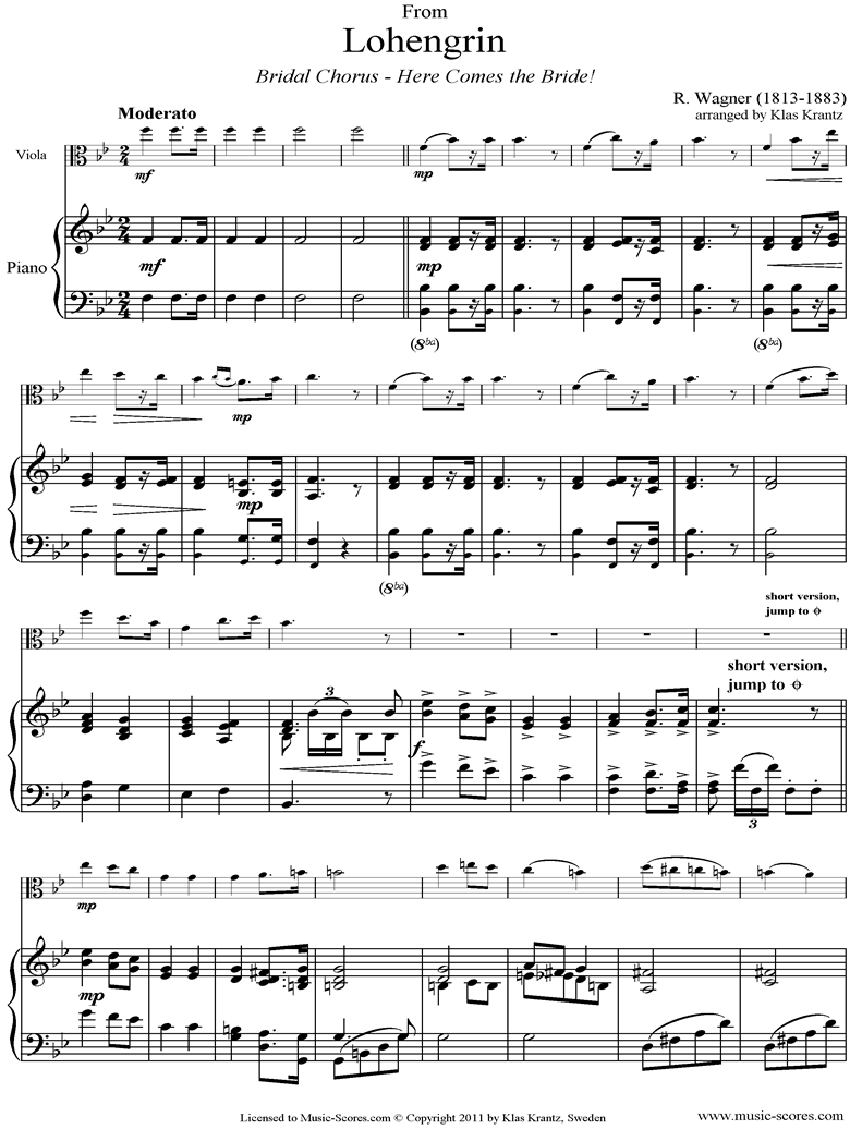 Front page of Wedding March: from Lohengrin: Viola, Piano sheet music