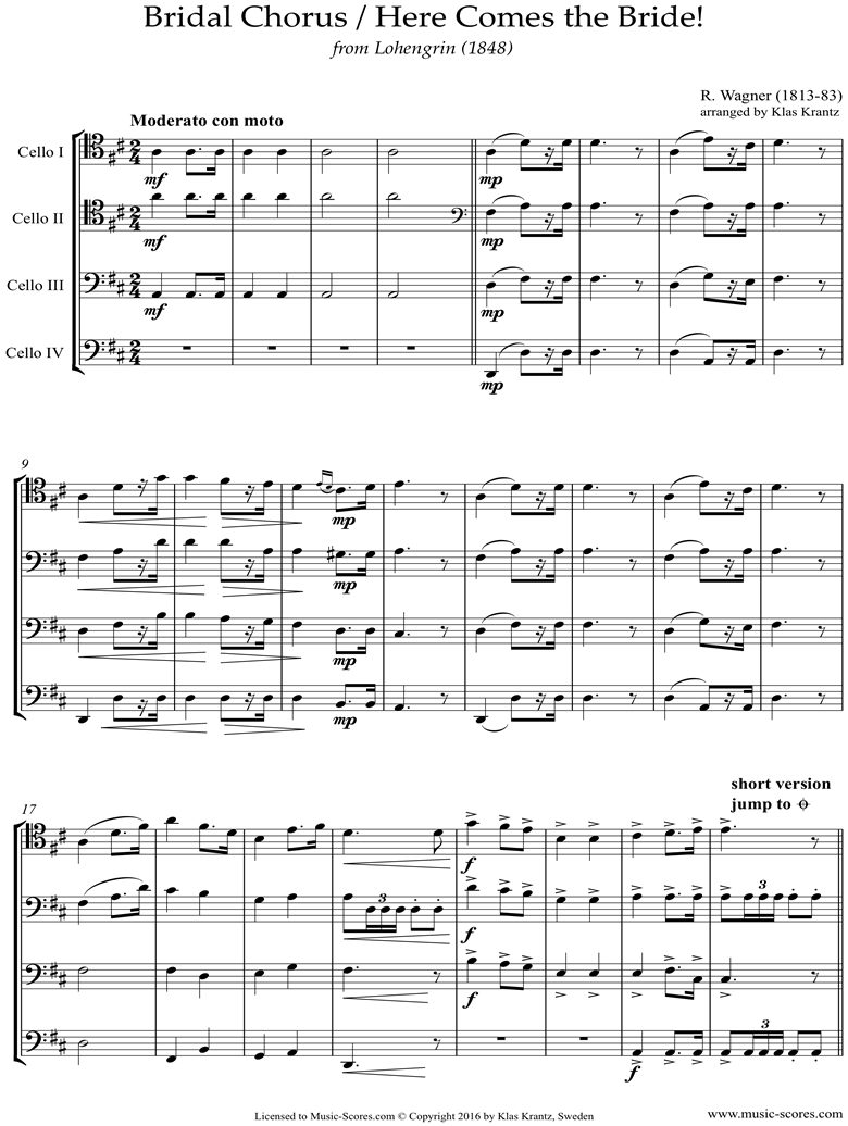 Wedding March: 4 Cellos by Wagner