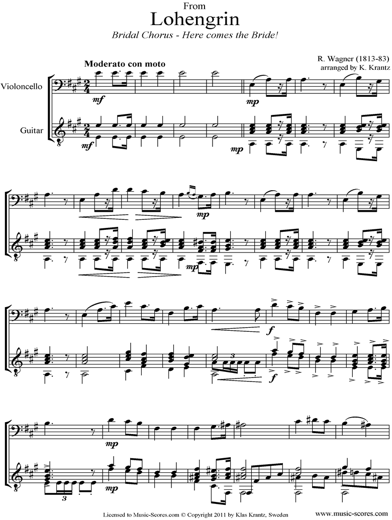 Wedding March: from Lohengrin: Cello, Guitar by Wagner