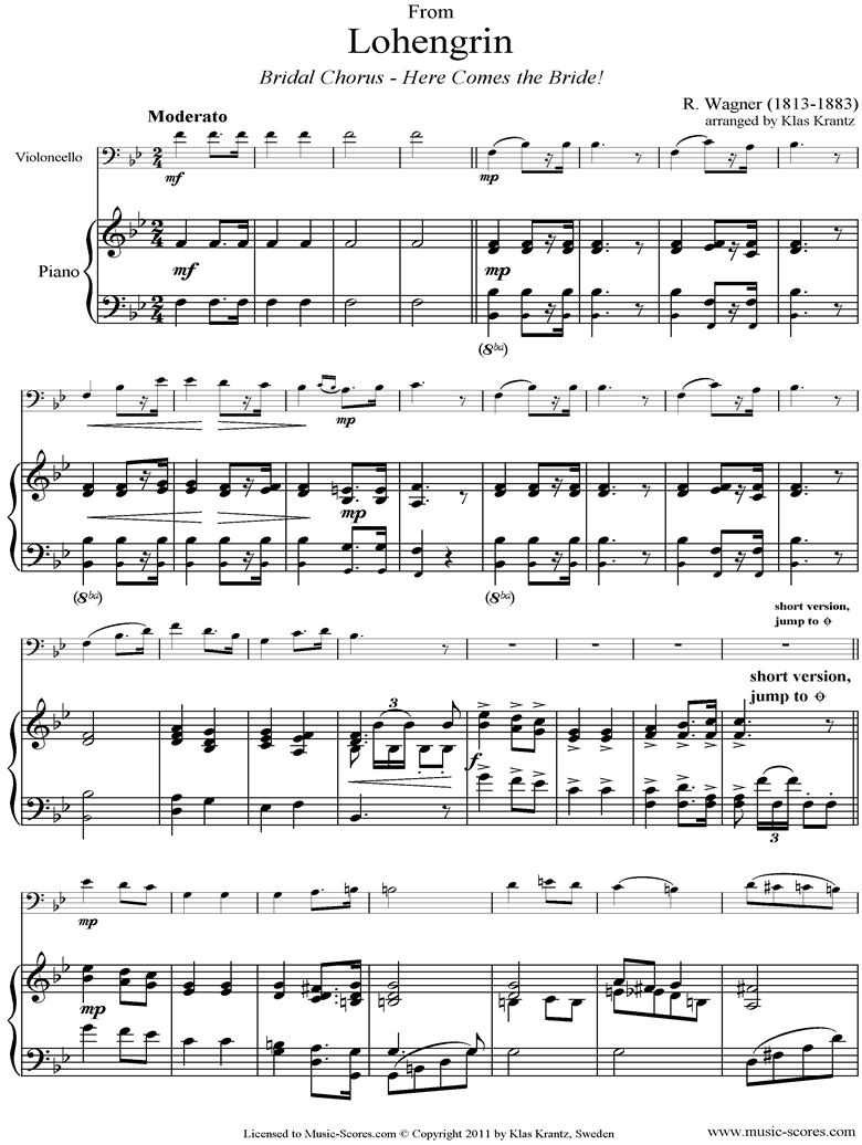 Front page of Wedding March: from Lohengrin: Cello, Piano sheet music