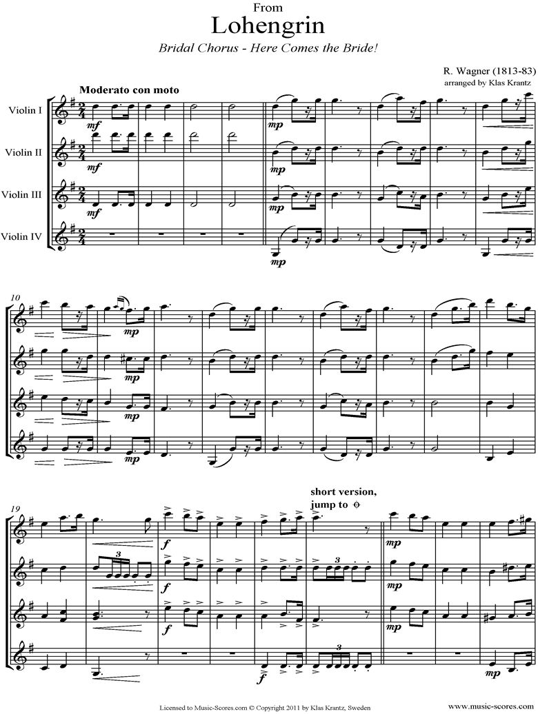 Front page of Wedding March: from Lohengrin: 4 Violins sheet music