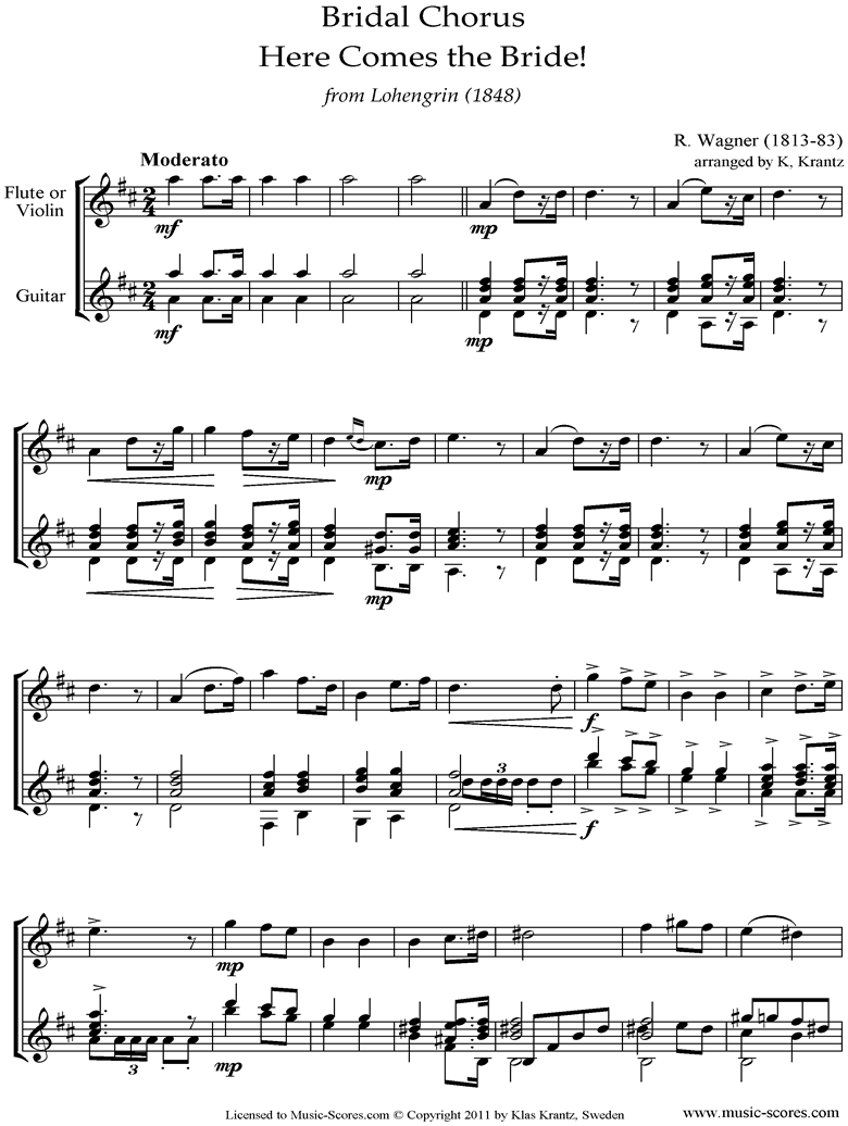 Front page of Wedding March: from Lohengrin: Violin, Guitar sheet music