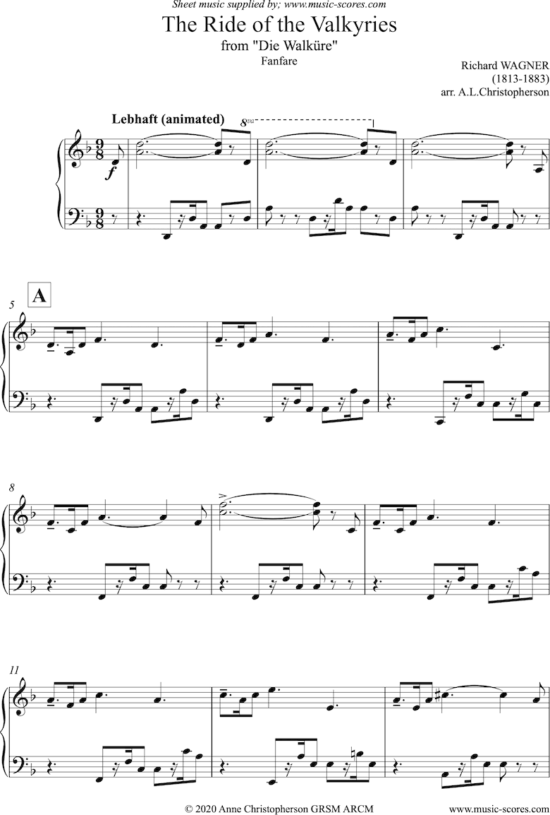 Front page of Ride of the Valkyries: Fanfare: Piano sheet music