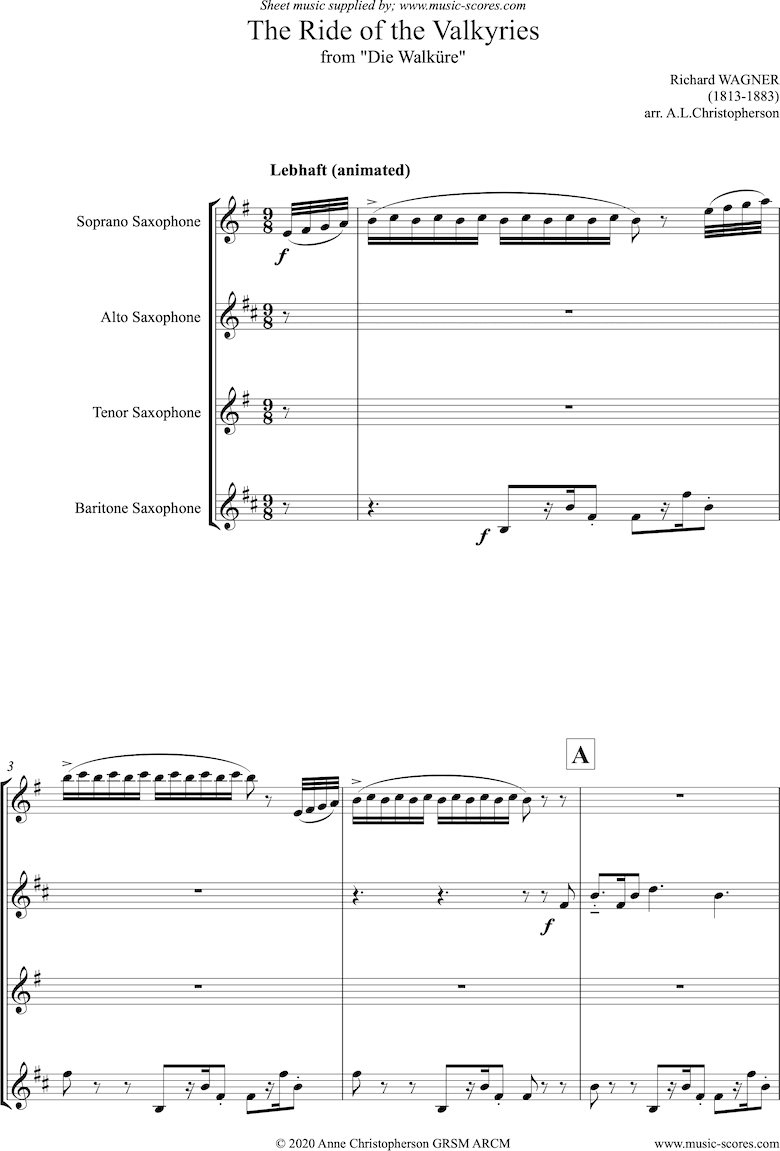 Front page of Ride of the Valkyries: Sax quartet sheet music