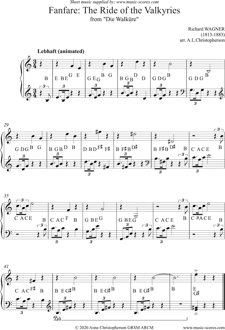 Front page of Ride of the Valkyries: Fanfare: easy Piano sheet music