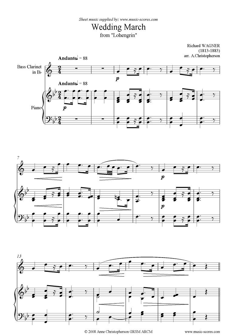 Front page of Wedding March: from Lohengrin: Bass Clarinet sheet music