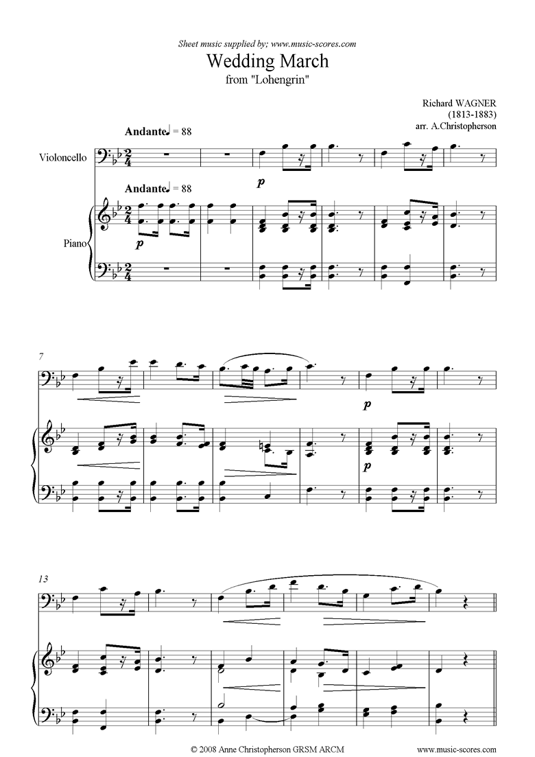 Front page of Wedding March: from Lohengrin: Cello sheet music