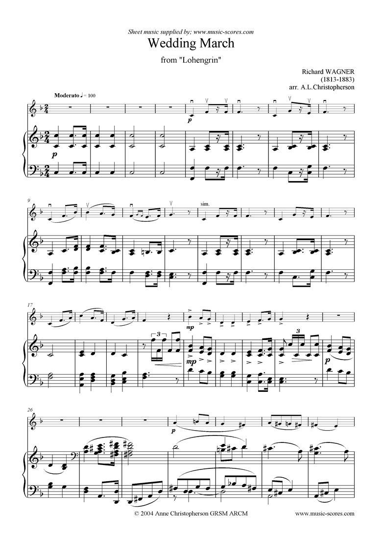 Front page of Wedding March: from Lohengrin: Violin sheet music