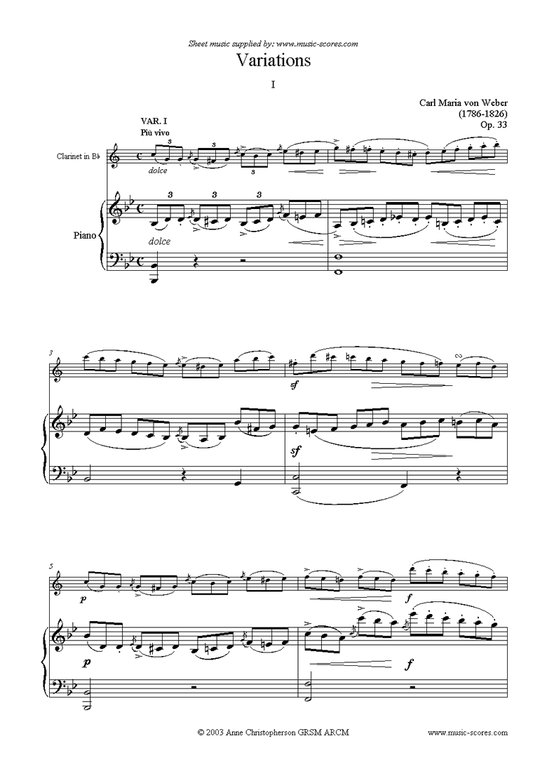 Front page of Variations: Op. 33 for clarinet (b) sheet music