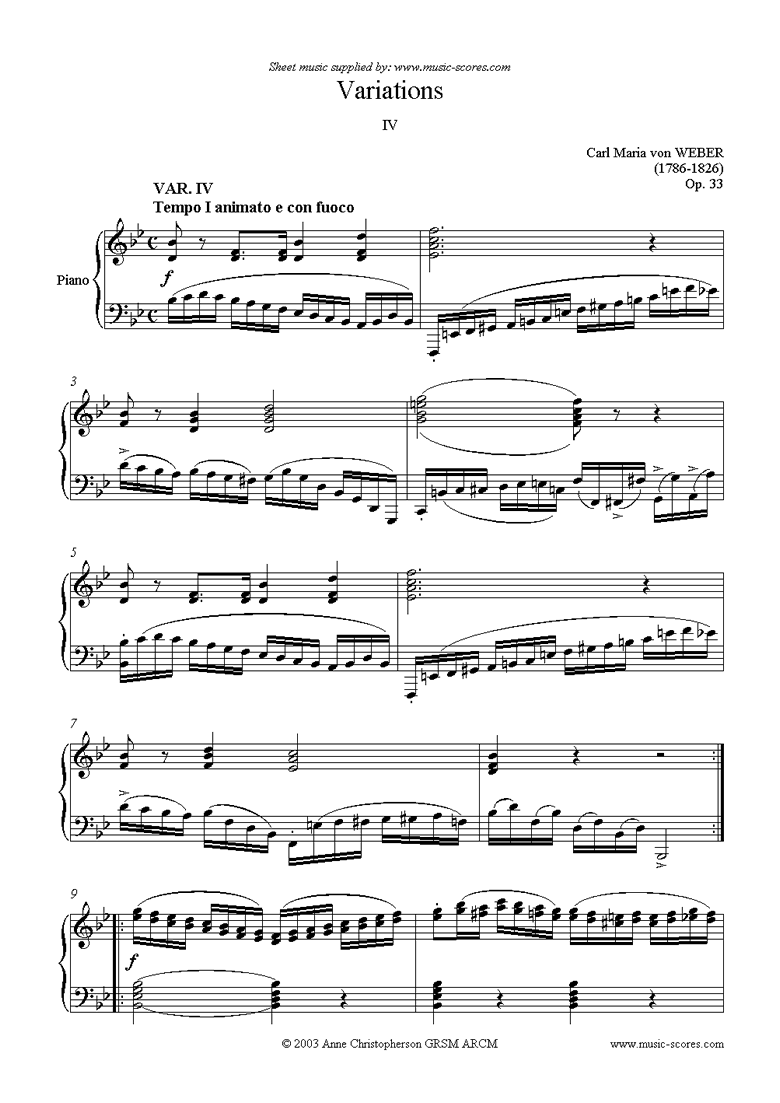 Front page of Variations: Op. 33 for clarinet (e) sheet music