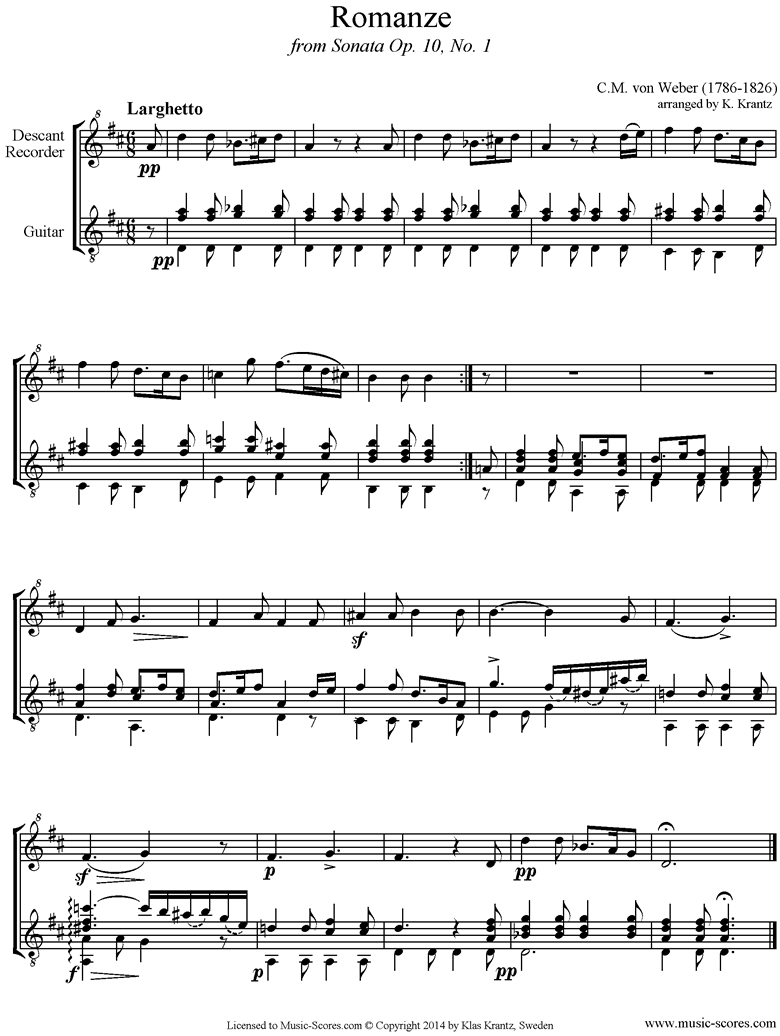 Front page of Op.10a, No.1, 2nd mvt: Romanze: Recorder, Guitar sheet music