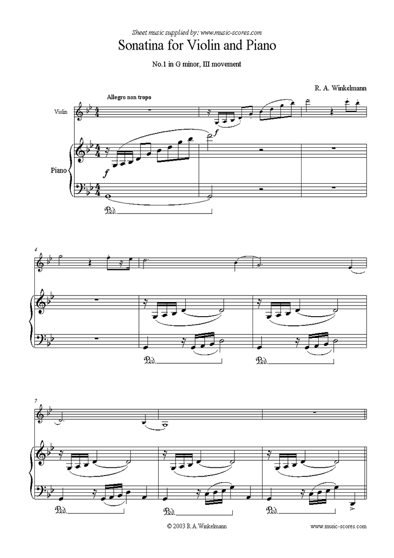 Front page of 1st Violin Sonatina, 3rd Movement sheet music