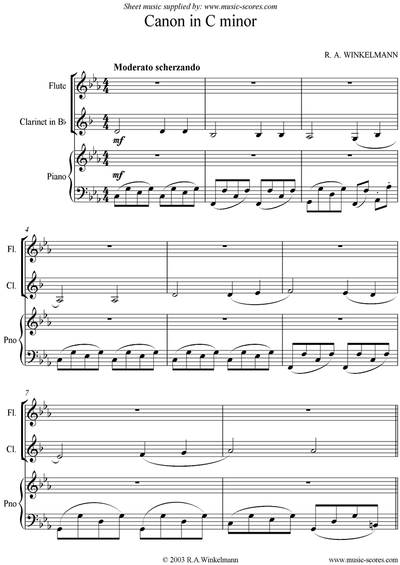 Front page of Canon in C Minor: Trio: Flute, Clarinet and Piano. sheet music