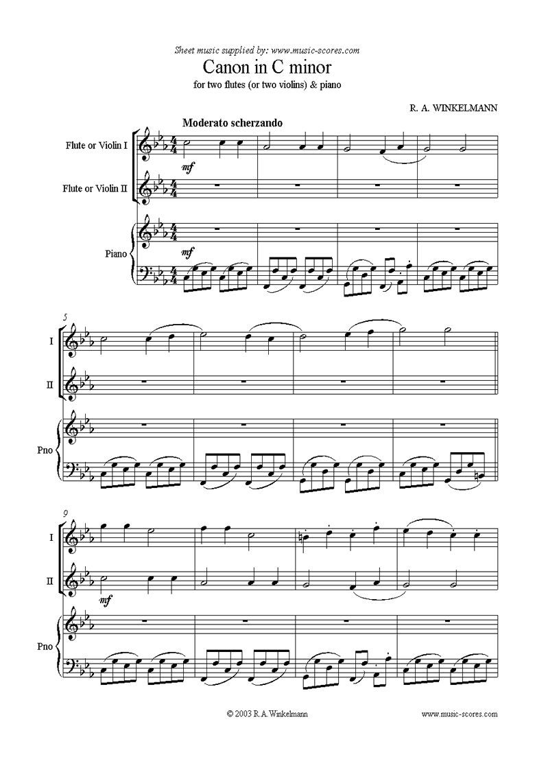 Front page of Canon in C Minor: Trio: 2 Flutes or Violins, Piano sheet music