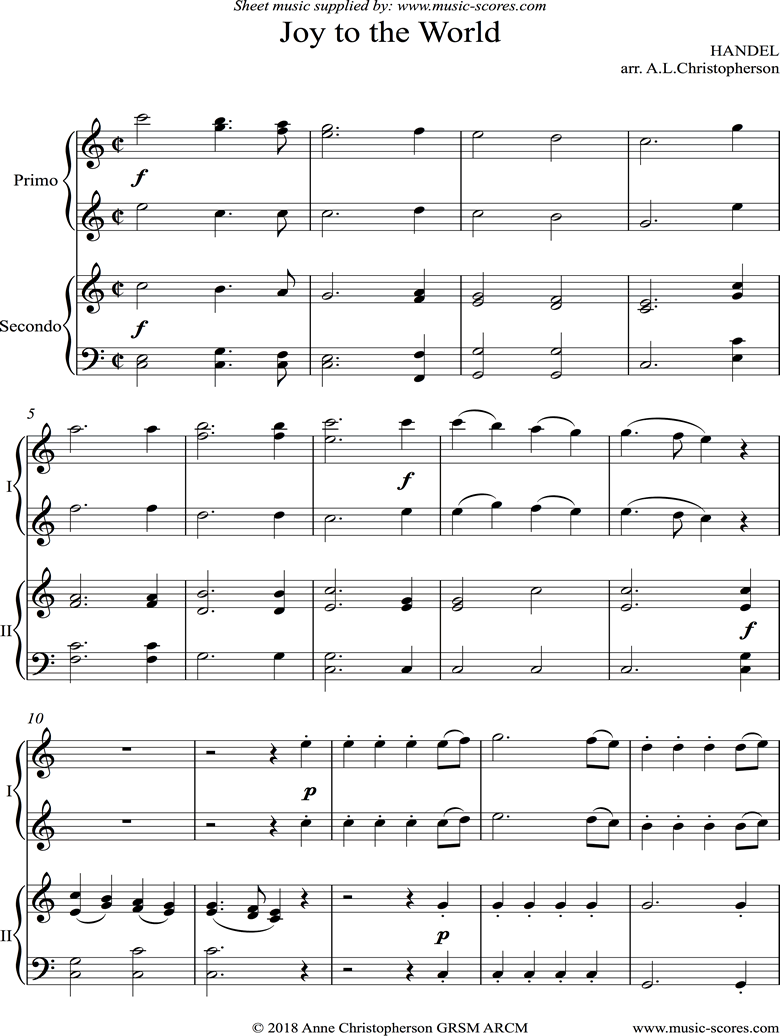 Front page of Joy to the World: Piano Duet sheet music
