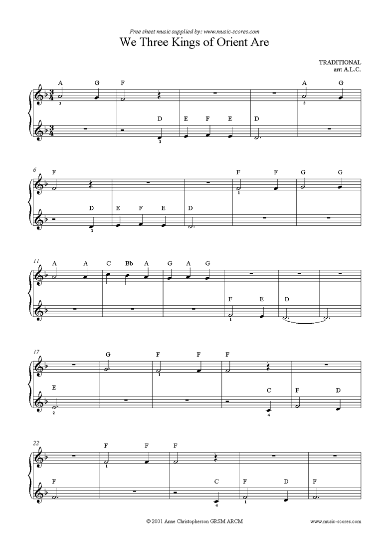 Front page of We Three Kings: Easy Piano sheet music