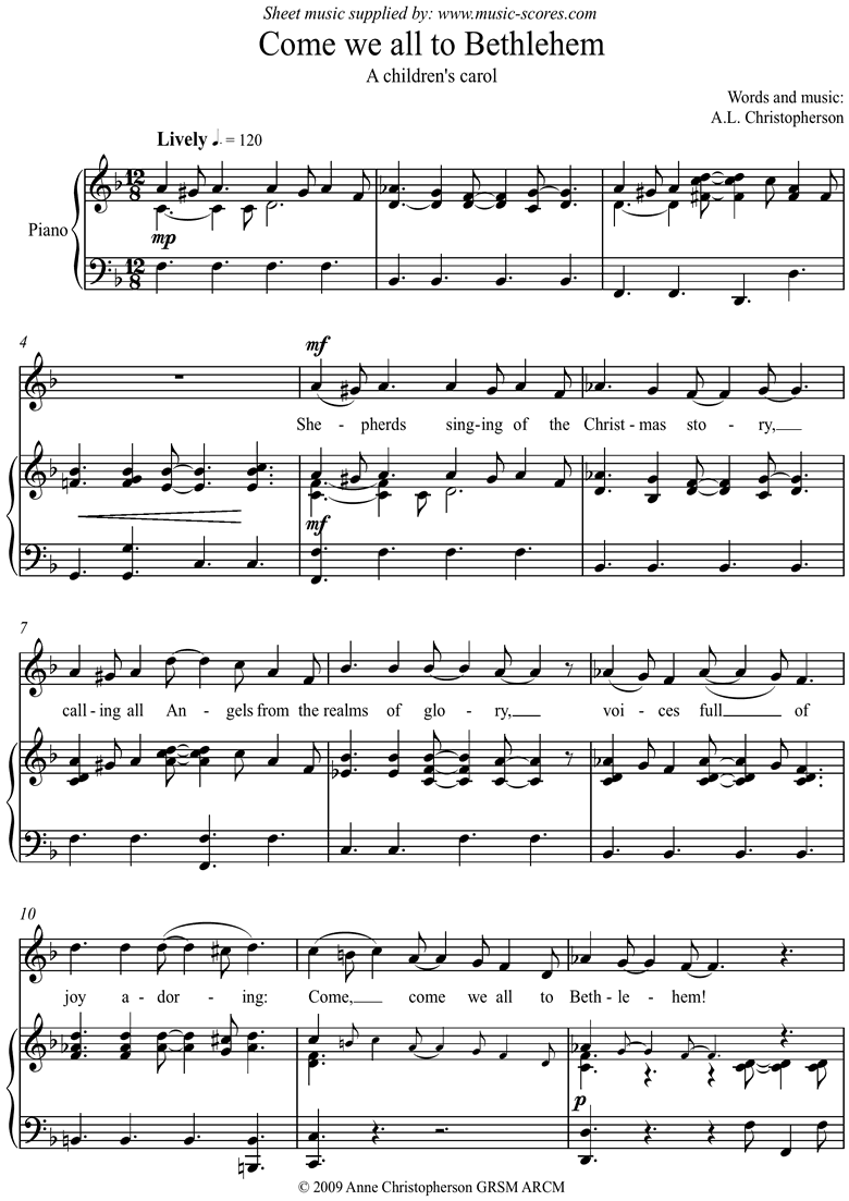 Front page of Come We All to Bethlehem sheet music