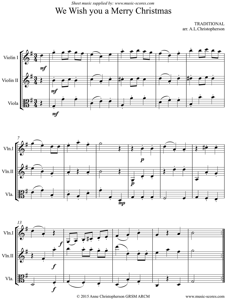 Front page of We Wish You a Merry Christmas: 2 Violins, Viola sheet music