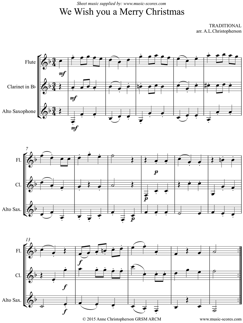 Front page of We Wish You a Merry Christmas: Flute, Clarinet, Alto Sax sheet music