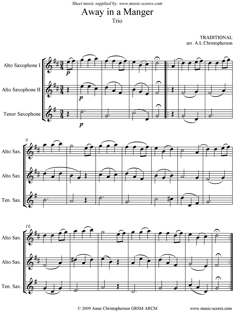 Front page of Away in a Manger: 2 Alto Saxes, 1 Tenor Sax sheet music