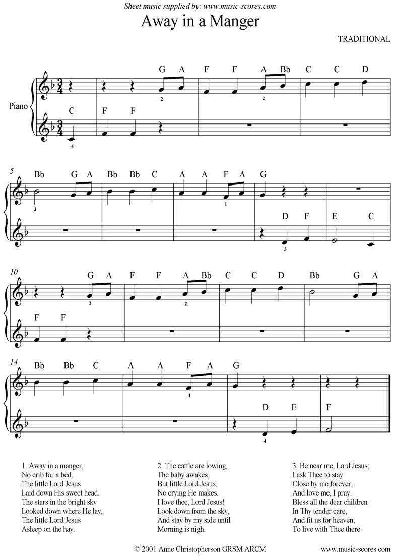Front page of Away in a Manger: Easy piano sheet music