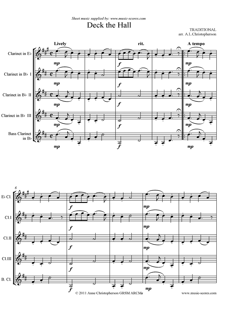 Front page of Deck the Hall with Boughs of Holly: Clarinet 5 sheet music