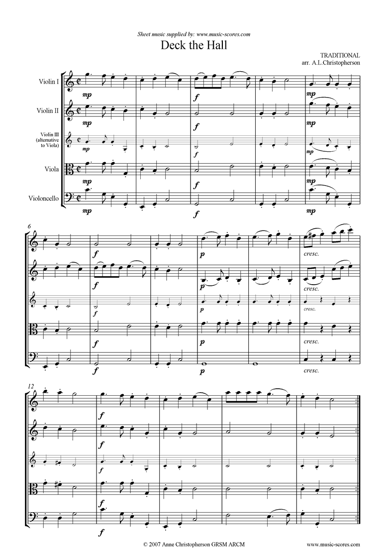 Front page of Deck the Hall with Boughs of Holly: String Quartet sheet music