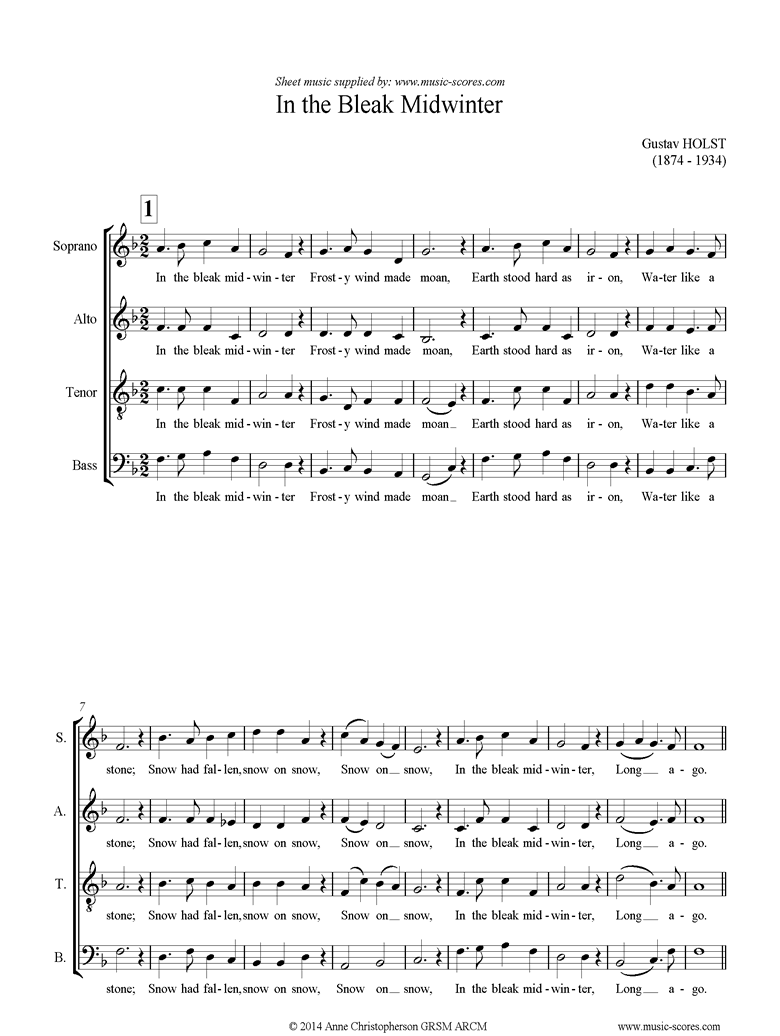 Front page of In the Bleak Midwinter: SATB sheet music