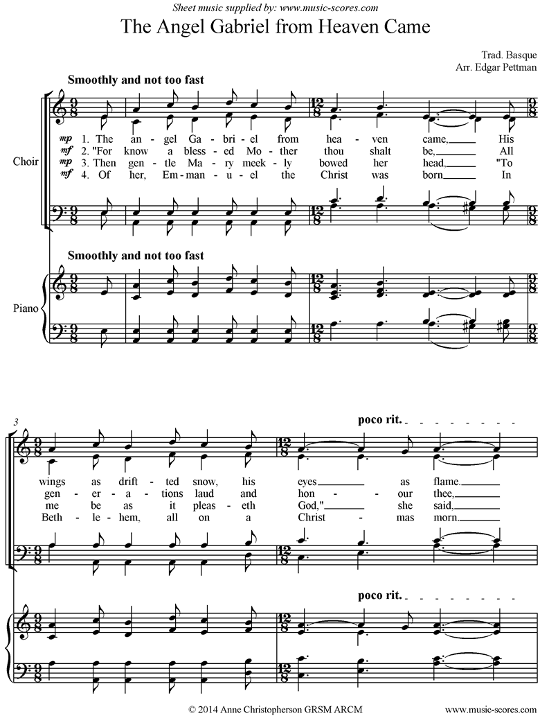 Front page of The Angel Gabriel from heaven came: Choir SATB, accompaniment sheet music