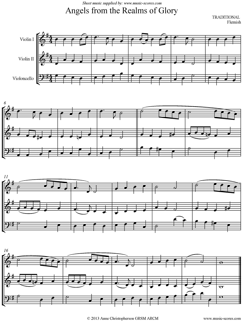 Front page of Angels from the Realms of Glory:String Trio sheet music