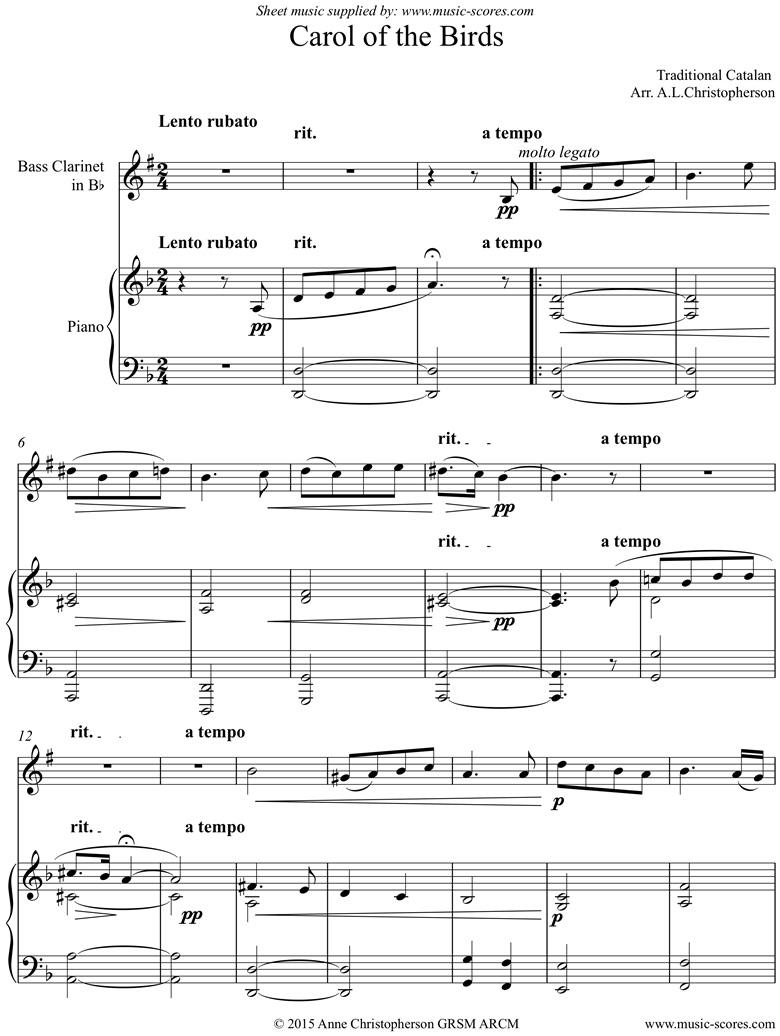 Front page of Carol of the Birds: Bass Clarinet and Piano sheet music