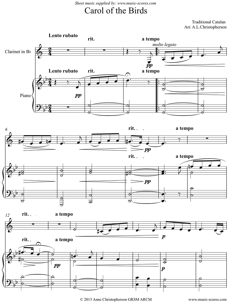 Front page of Carol of the Birds: Clarinet and Piano sheet music