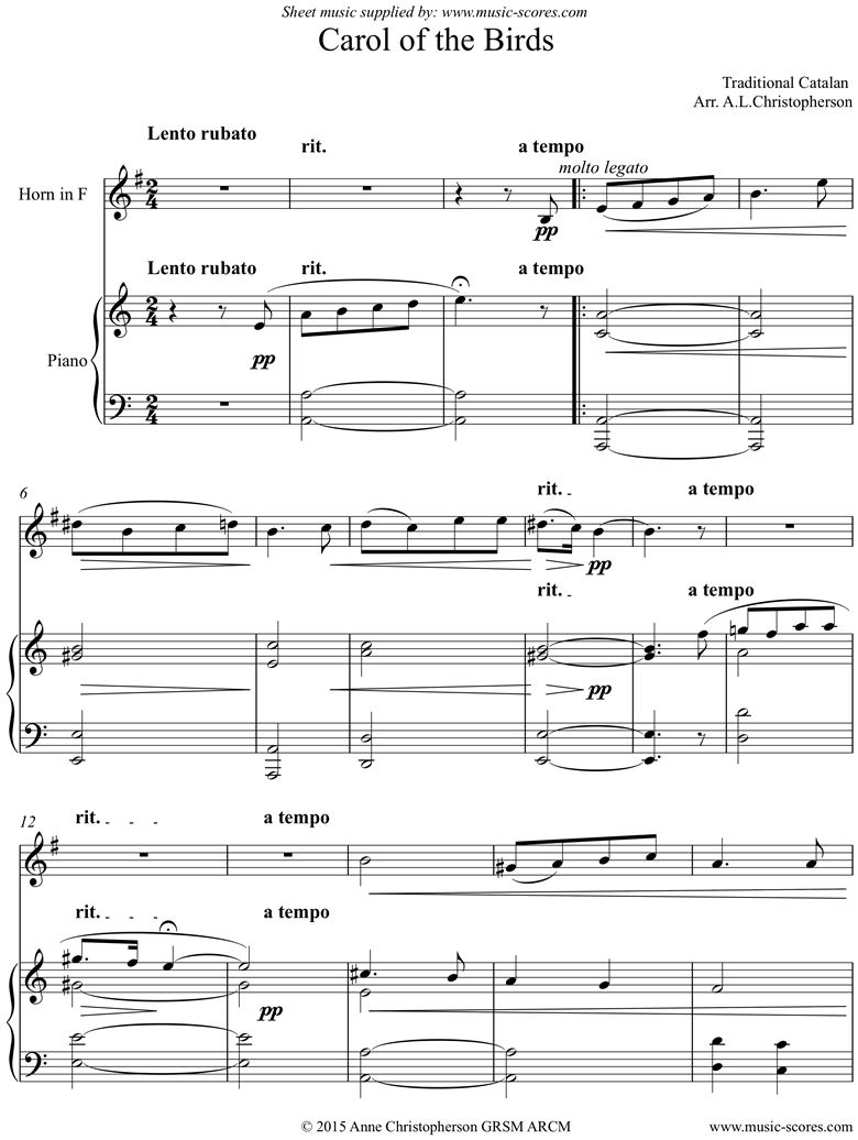Front page of Carol of the Birds: Horn and Piano sheet music