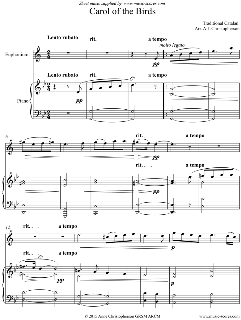 Front page of Carol of the Birds: Euphonium and Piano sheet music