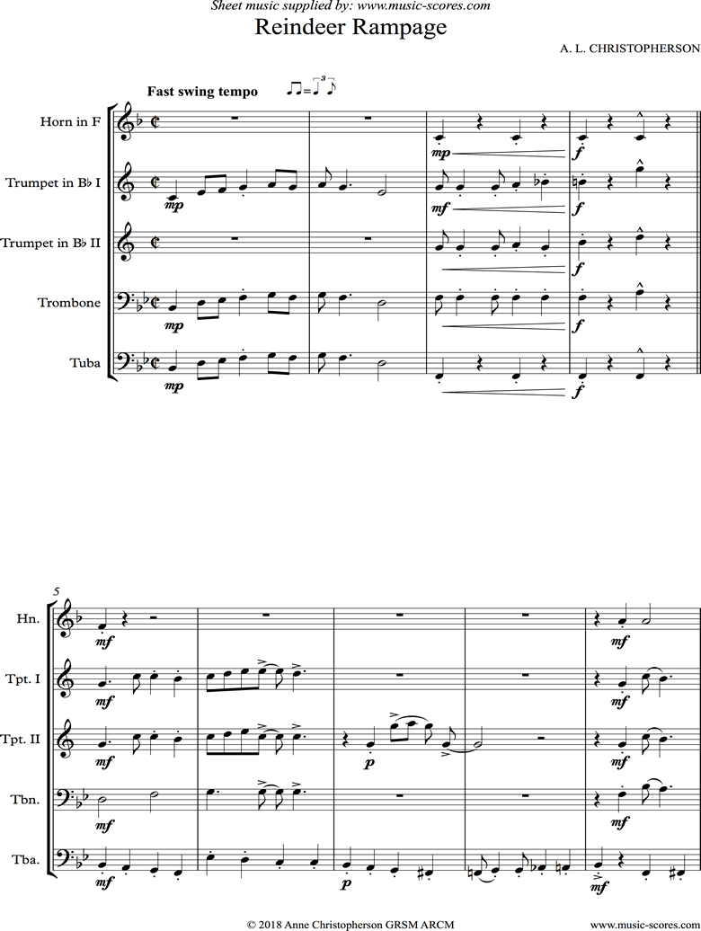 Front page of Reindeer Rampage: 2 Trumpets, French Horn, Trombone and Tuba sheet music