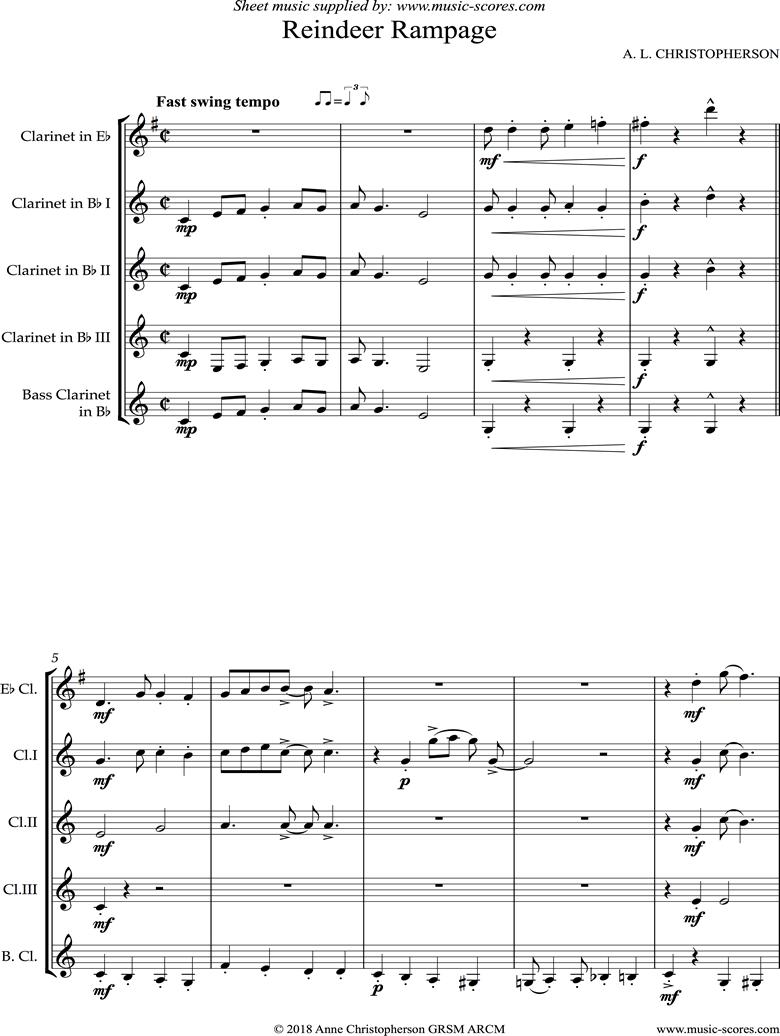 Front page of Reindeer Rampage: Clarinet Quintet sheet music