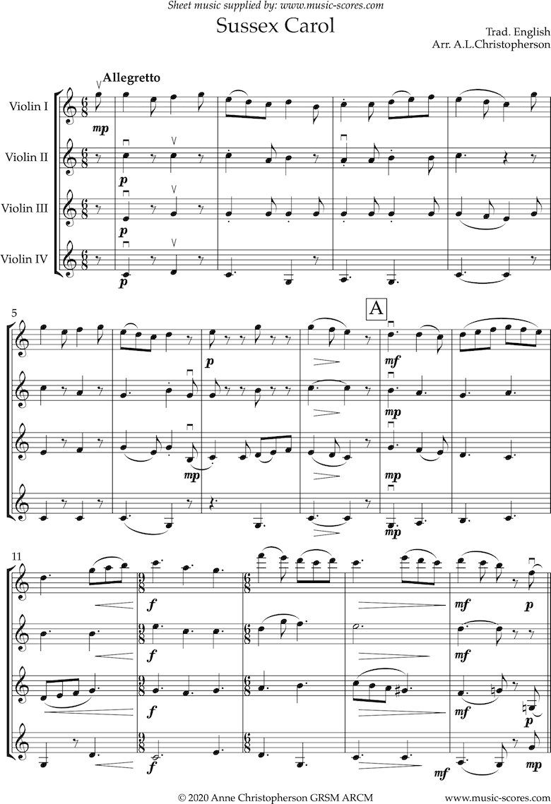 Front page of The Sussex Carol: 4 Violins sheet music