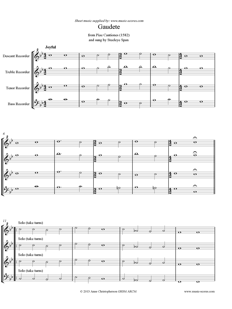 Front page of Gaudete: Descant, Treble, Tenor, Bass Recorder sheet music